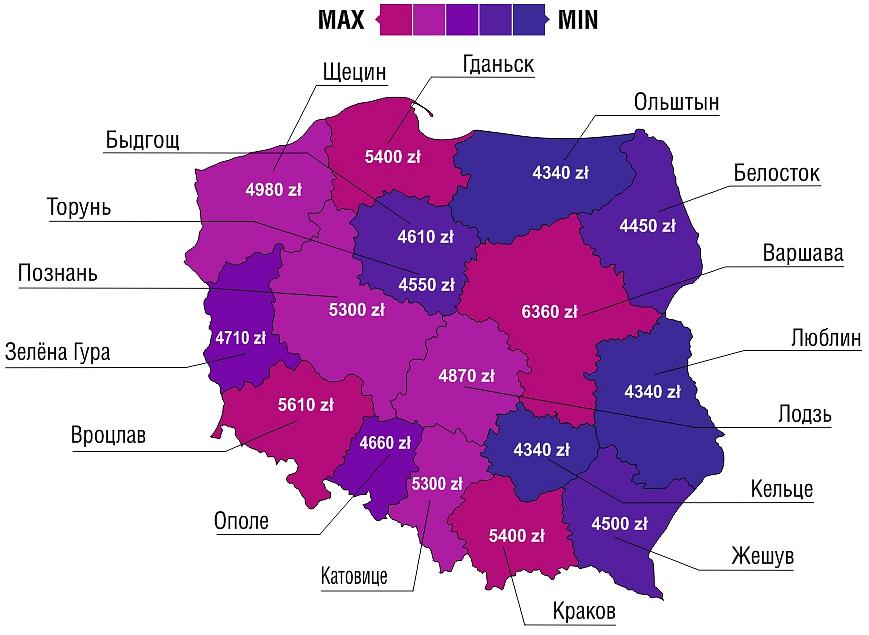 Карта Польши с зарплатами по городам