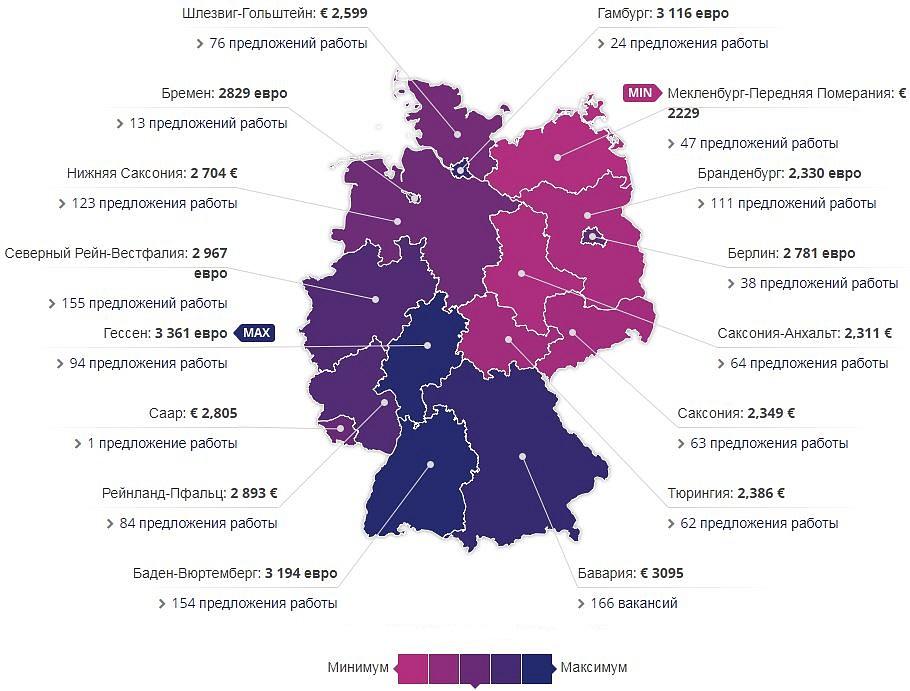 Карта Германии - зарплата слесаря по землям