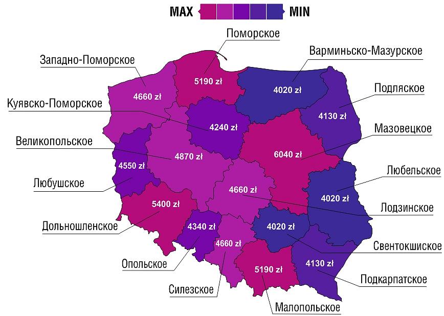 Карта Польши с зарплатами по воеводствам